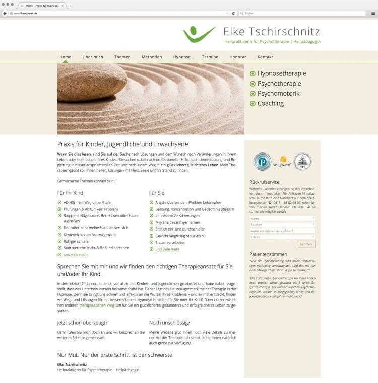 dreihochzwo - Webdesign Wiesbaden - Praxis für Hypnose- und Psychotherapie - Elke Tschirschnitz Webseite 1