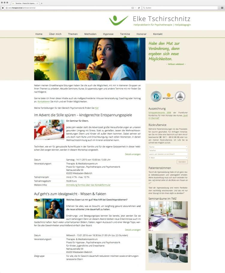 dreihochzwo - Webdesign Wiesbaden - Praxis für Hypnose- und Psychotherapie - Elke Tschirschnitz Webseite 2